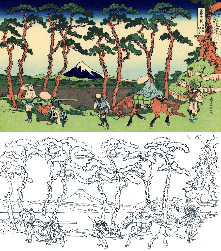 Hodogaya on the Tokaido Hokusai Coloring Pages Famous