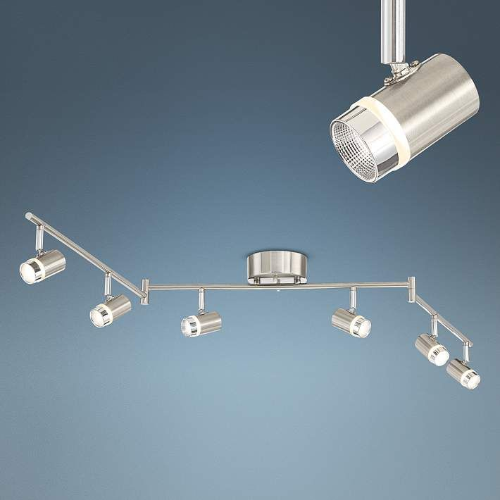 Illuma Flex Track Lighting Installed In A Kitchen From: Pro Track® Max 6-Light Satin Nickel LED Track Fixture