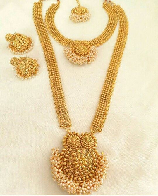 Beautiful South Indian Double Long Necklace Set South Indian