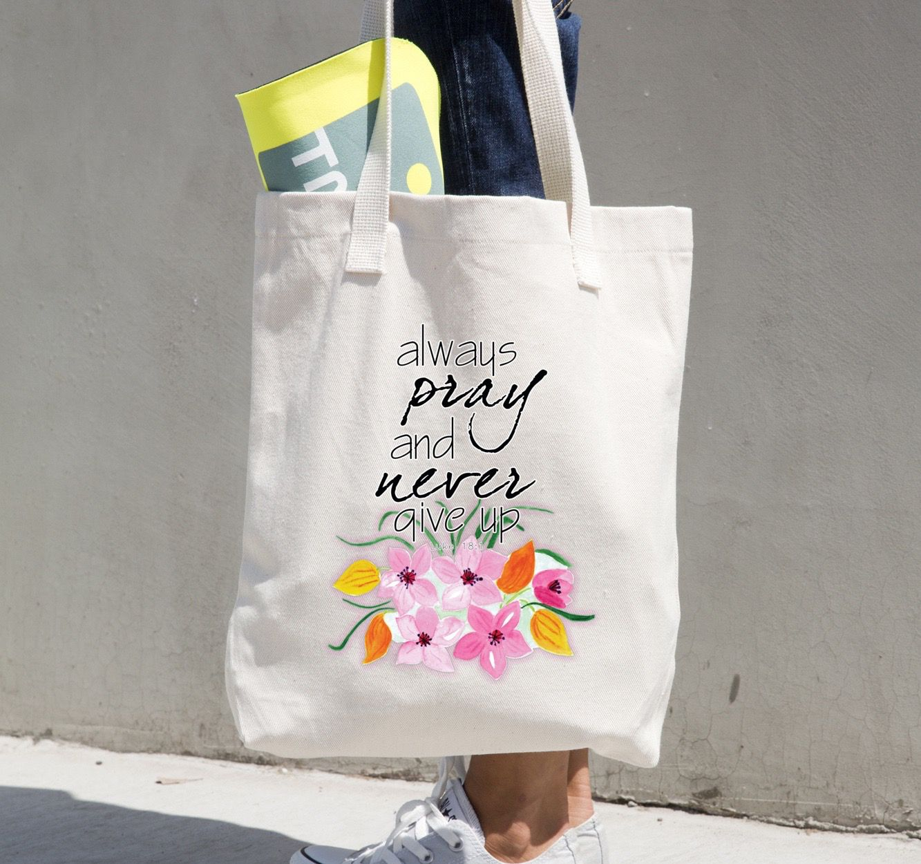 Floral Stars Pattern Canvas Tote Bag Womens Bag Canvas Bag Market Bag Gift for Her Shoulder Bag