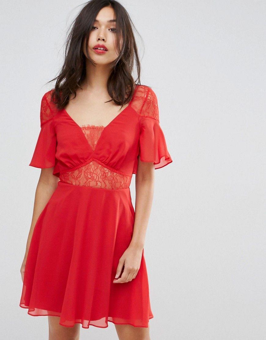 Asos lace insert flutter sleeve mini dress red mini