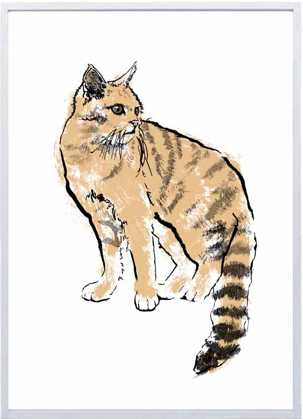 Gold Scottish wildcat  limited edition handmade screenprint made with sustainably sourced paper and water-based inks.  Available from http://tiffhowick.bigcartel.com