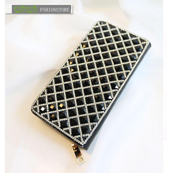 Hot 2014 New Fashion Shiny Beading Diamonds Strass Women Leather Wallet Day Clutch Bridal Handbags Purse pochette billetera $42.22