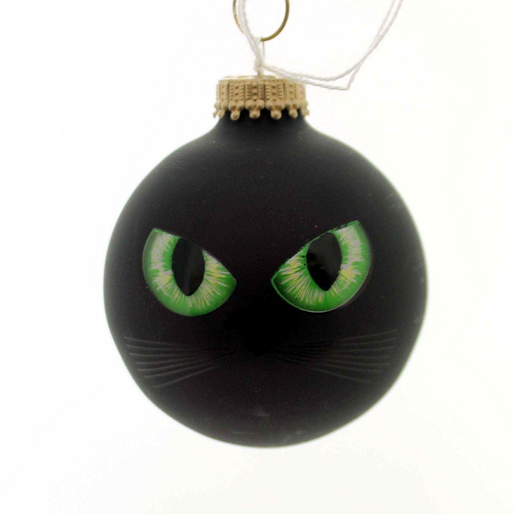 Christmas Tree Made Of Black Cats: Holiday Ornaments HALLOWEEN CAT EYES/EYEBALL Glass Spooky