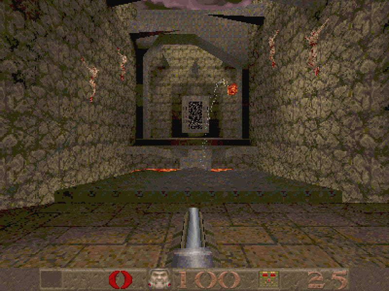 Quake :1996 -After Doom revolutionized first-person shooters, Quake raised the bar and set standards featuring improved visuals in a 3D environment, excellent controls, numerous monsters and a vast online experience. Much darker in theme, the four dimensions contain cathedrals, tombs of the undead, etc, and each dimension is broken into various levels with an end-boss.Nine Inch Nails' ambient soundtrack adds to the experience with subtle but disturbing noises. OMG:★★★★★