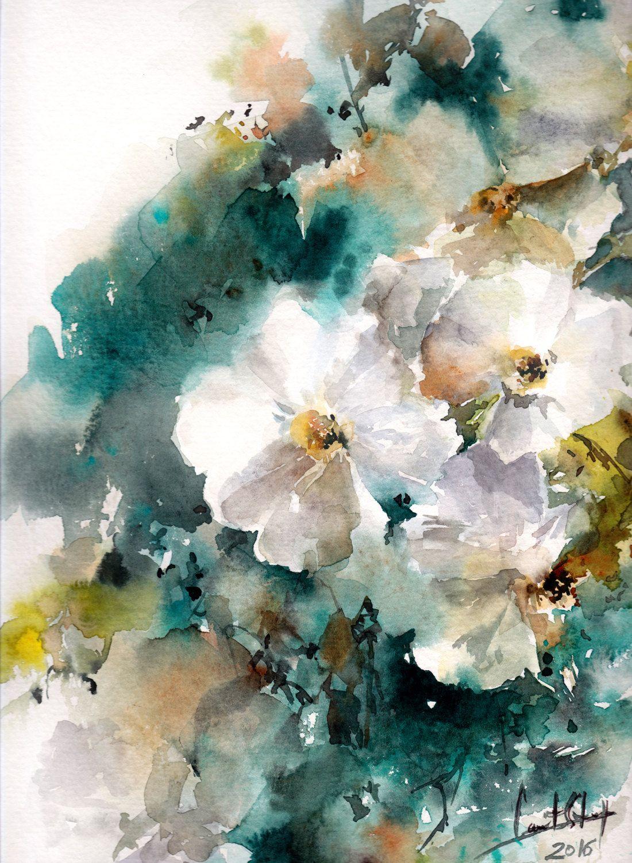 Original Watercolor Painting Jasmine Painting White