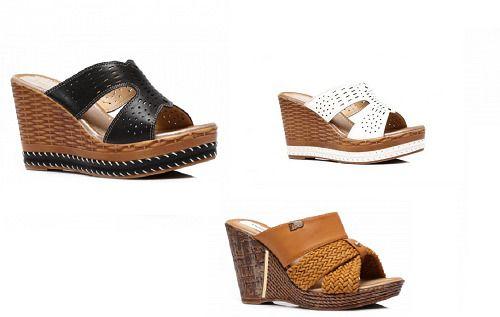 Platform wedge heels, Mule sandals