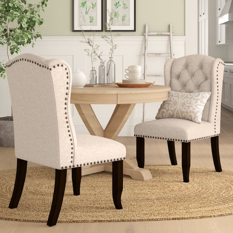 Calila tufted upholstered wingback side chair in beige