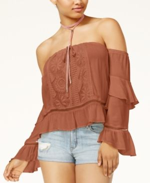 7d9d5665e5d2d American Rag Juniors  Off-The-Shoulder Ruffled Top