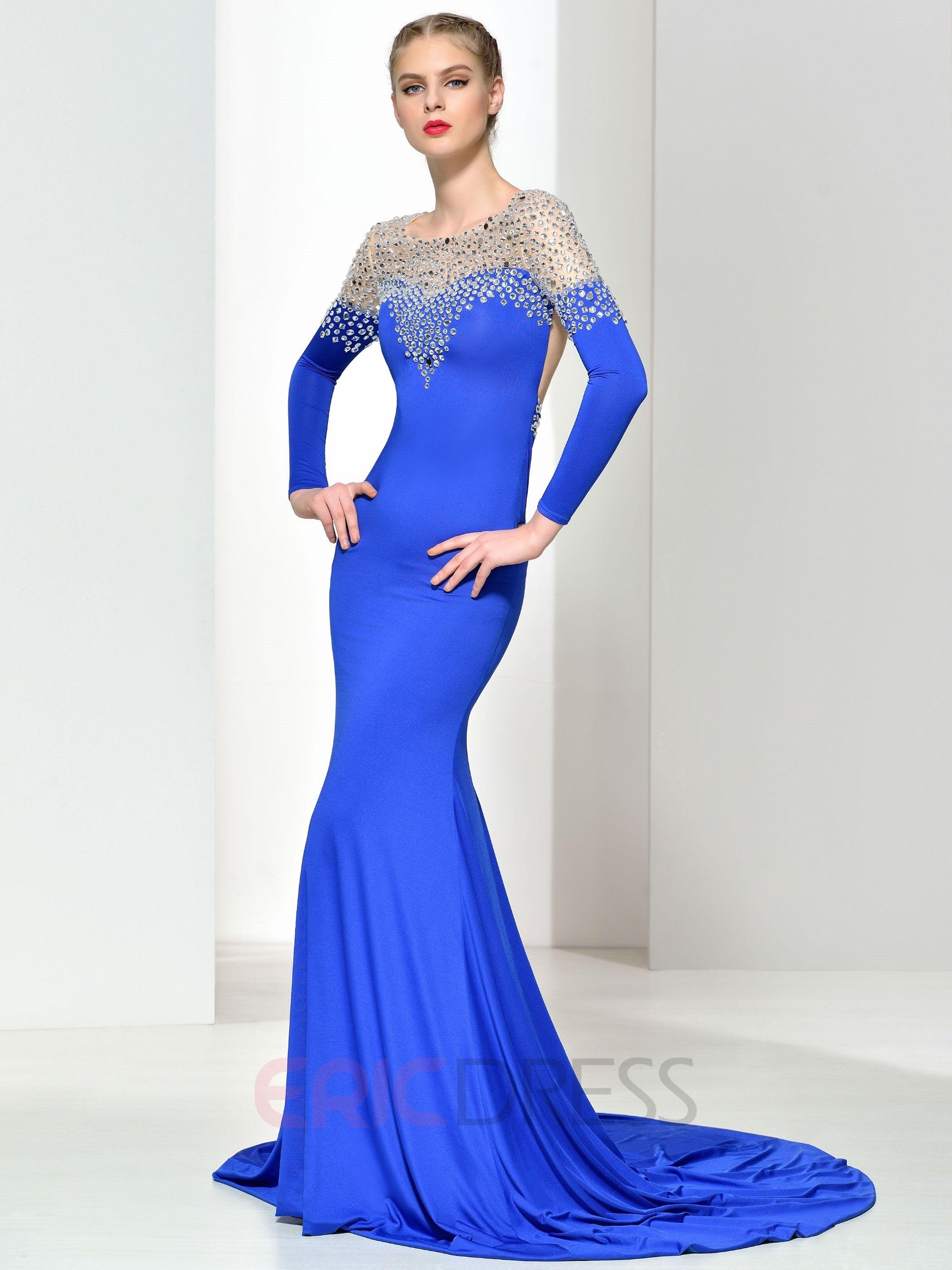 f8f47023cd8 Ericdress Long Sleeves Beading Backless Mermaid Evening Dress 3 ...