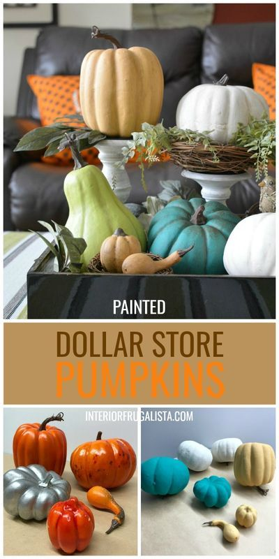 How to transform plastic dollar store pumpkins and give them pretty French Country style with paint and wax. A super easy and inexpensive Fall decorating idea by Interior Frugalista #falldecorideas #falldecor #diypumpkins #paintedpumpkins #dollarstorecrafts #upcycledfalldecor