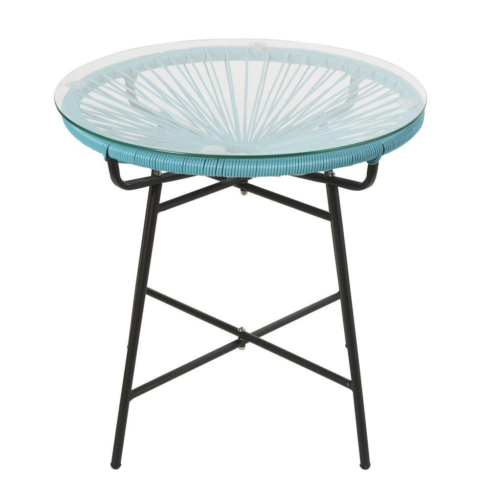 Table basse de jardin en résine bleue et verre en 2019 ...