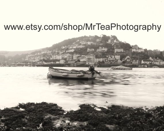 Stunning black and white photograph of a boat at Dartmouth by MrTeaPhotography, £10.00