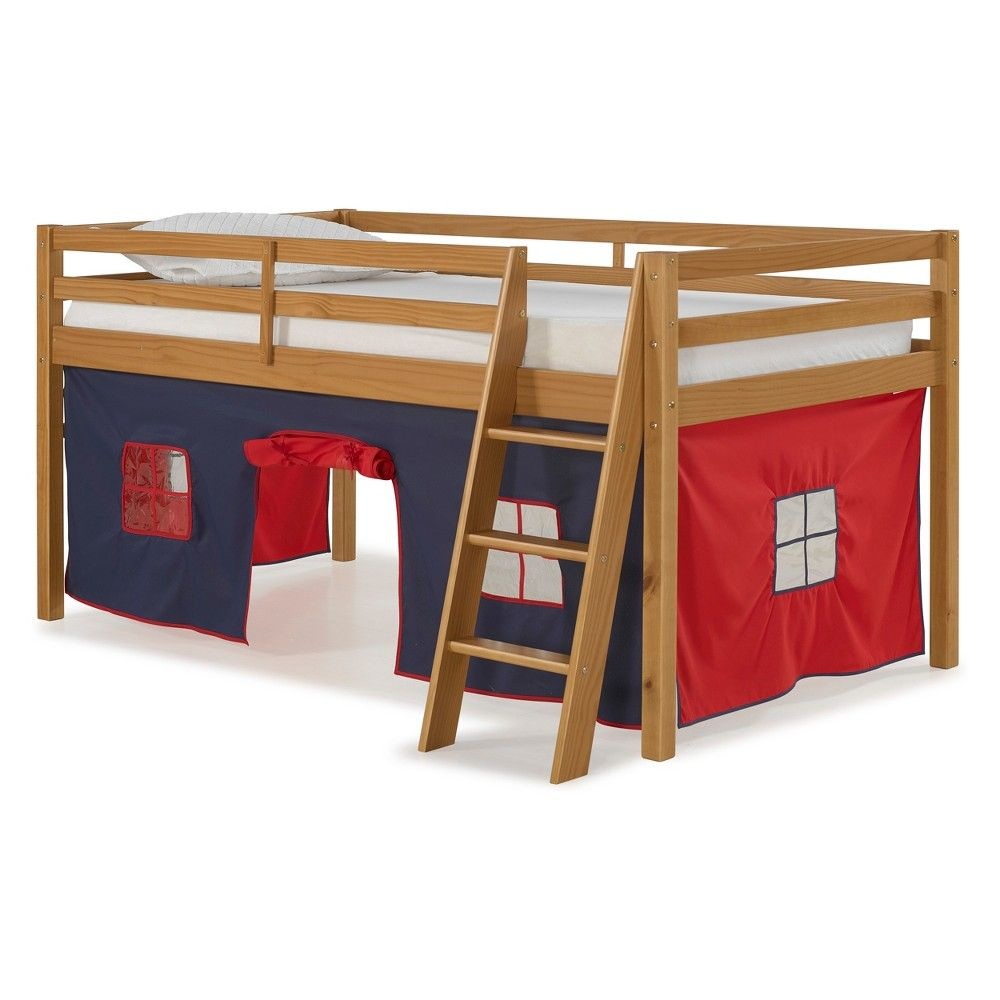 Loft bed with desk blue  Roxy Junior Loft Twin Bed With Blue And Red Tent Cinnamon  Bolton