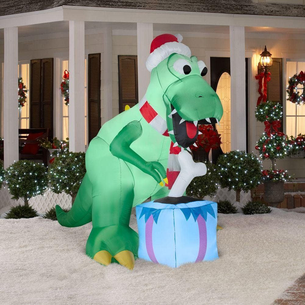 christmas decoration lawn yard inflatable t rex dinosaur with santa hat and present 7