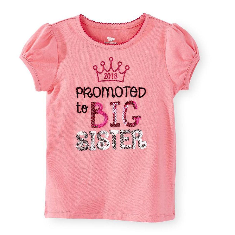 Koala kids promoted to big sister pink screen print top