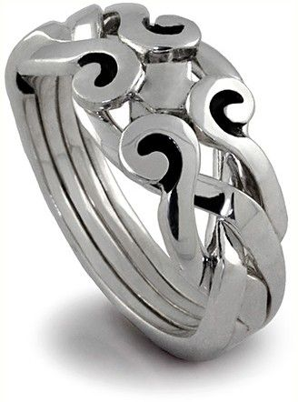 My Wedding Engagement Ring 4 Band Silver Antique Looking Celtic Puzzle