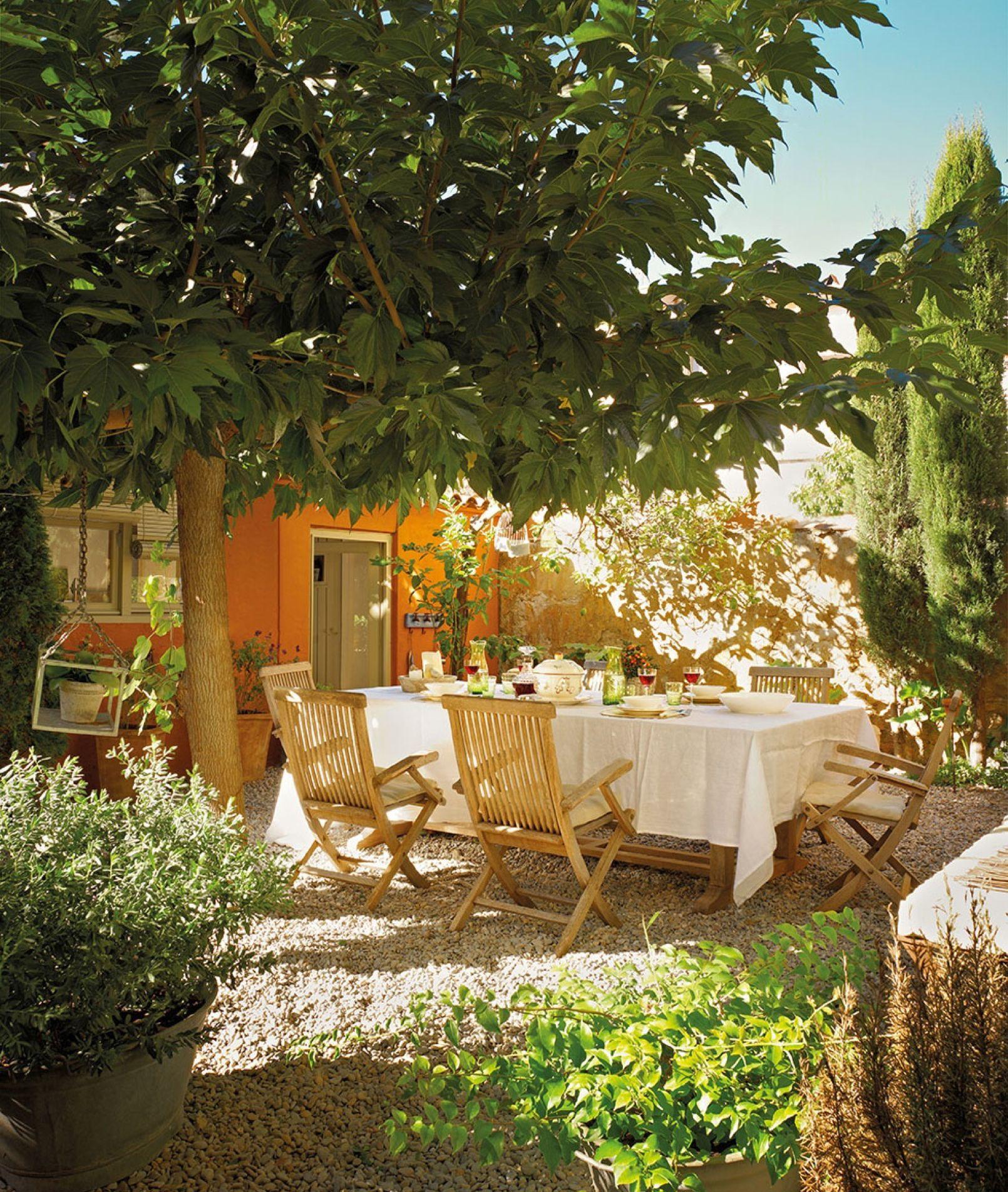 Comedor en el jardín con muebles de exterior y bajo el árbol ...