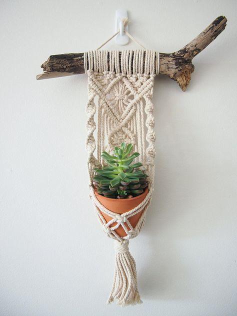 Macrame Plant Hanger Wall Hanging suits Mini Pot Indoor Vertical