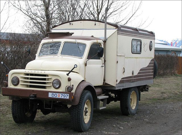 Old Hanomag Truck Looks Like It Is Converted To A Camper Seen Parked On Street In Akureyri Iceland