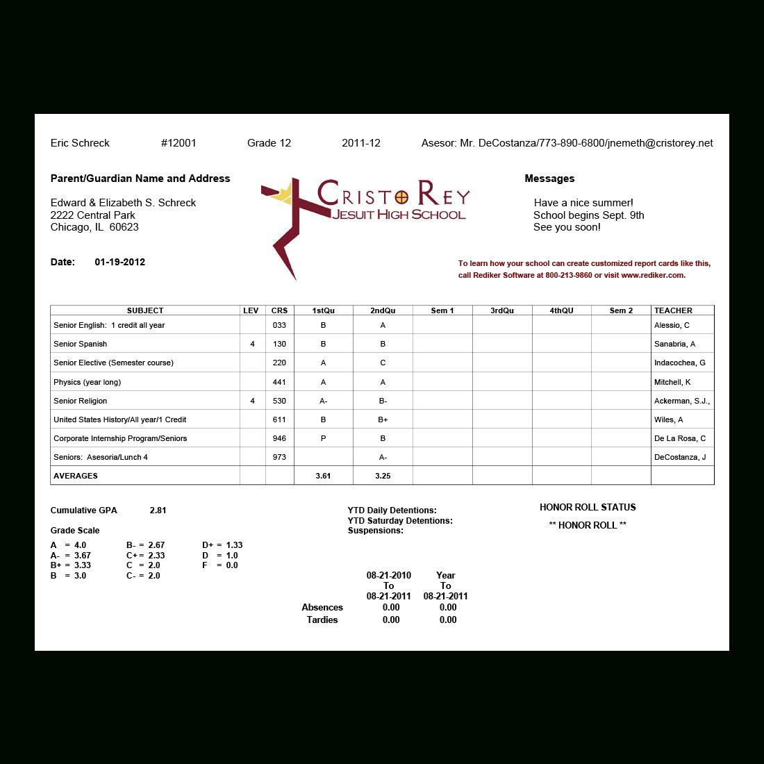 Report Card Software Grade Management Rediker Software Within High School Student Report Card Tem School Report Card Report Card Template Business Template