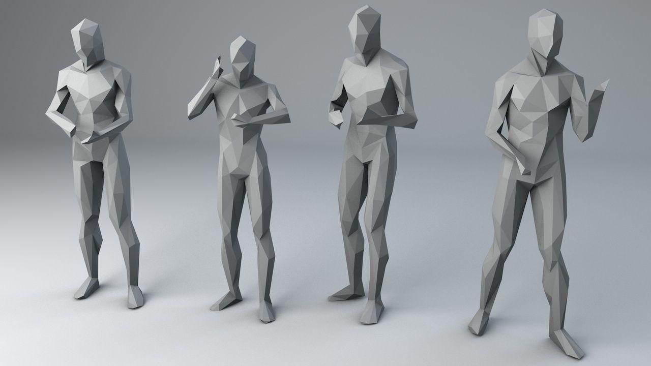 25 Lowpoly Human Characters Bundle 3d Model Low Poly Character Character Design 3d Character