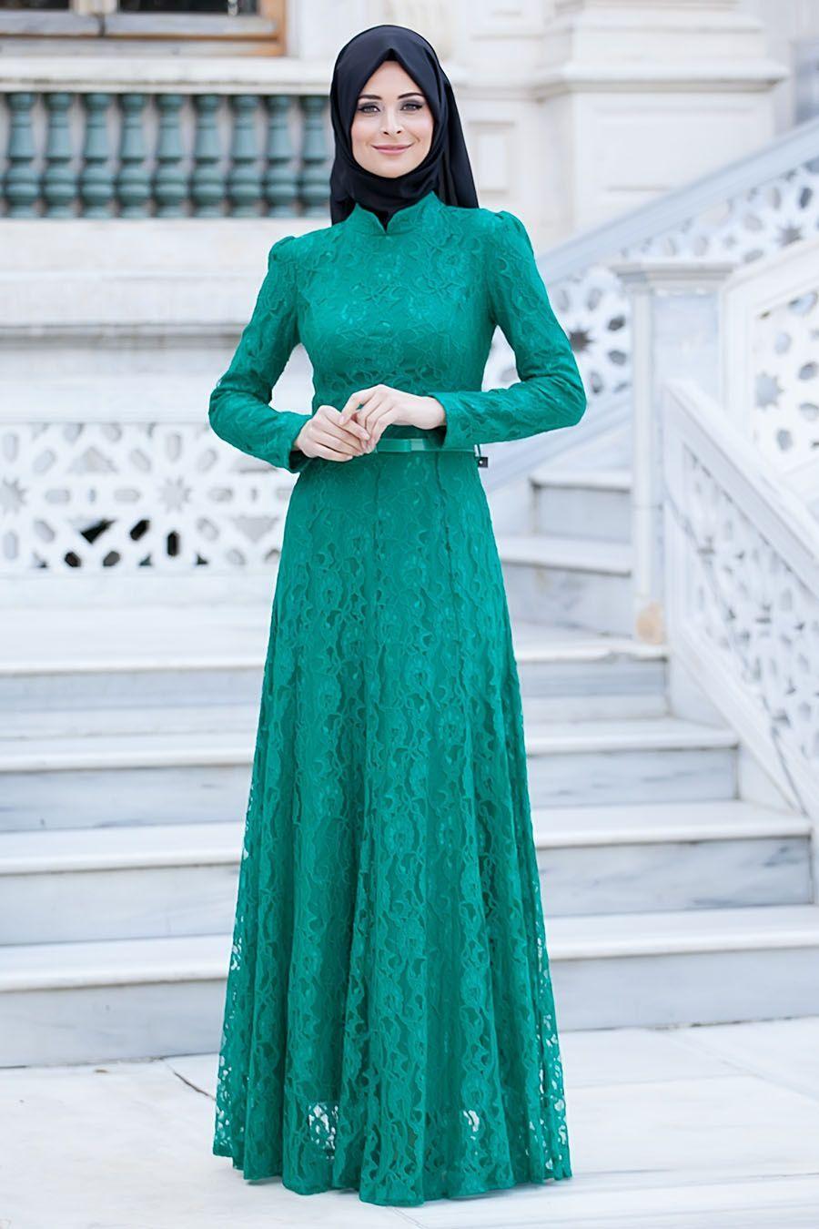 Tesetturlu Abiye Elbiseler Tesetturlu Abiye Elbise Dantelli Yesil Elbise Tesettur Bayan Giyimde Elbise Fera Model Pakaian Hijab Pakaian Wanita Model Pakaian