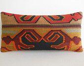 DECORATIVE PILLOW Decorative Throw Pillow Kilim Pillow Cover Turkish Cushion Lumbar pillow Case colorful folk art retro decor orange gold