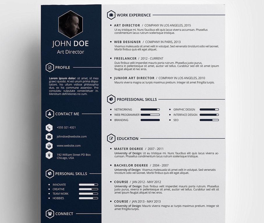 free creative resume template in psd format more more - Free Unique Resume Templates