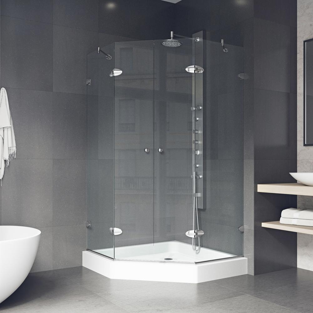 Vigo Gemini 47 625 In X 78 75 In Frameless Neo Angle Shower Enclosure In Chrome With Clear Glass With Base In White Vg6063chcl47w Neo Angle Shower Shower Enclosure Frameless Shower Enclosures