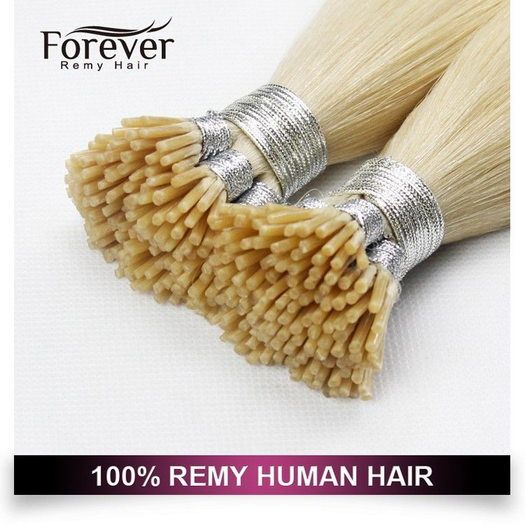 Forever high quality 100 real Indian remy human blonde #613 double drawn i-tip hair extension