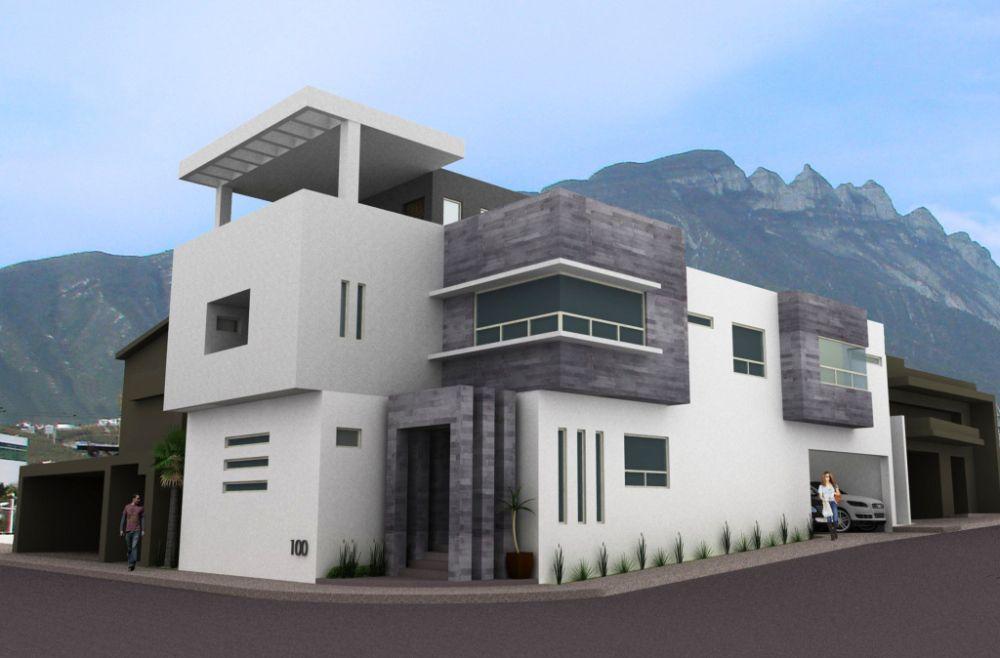 Fachadas de casas modernas residencia moderna en cumbres for Fachada de casas modernas lujosas