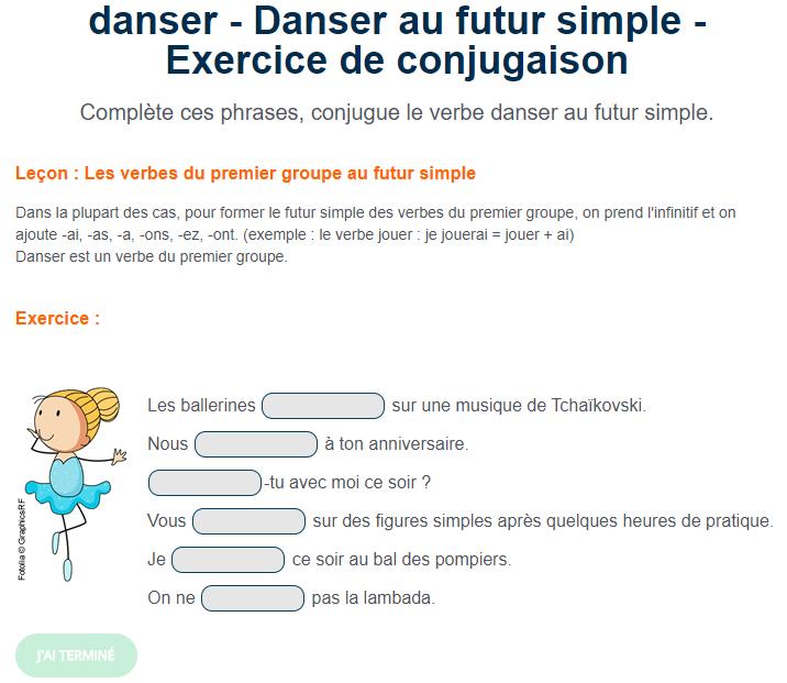 Exercice De Francais Danser Au Futur Simple Futur Simple Exercices Conjugaison Exercice Francais