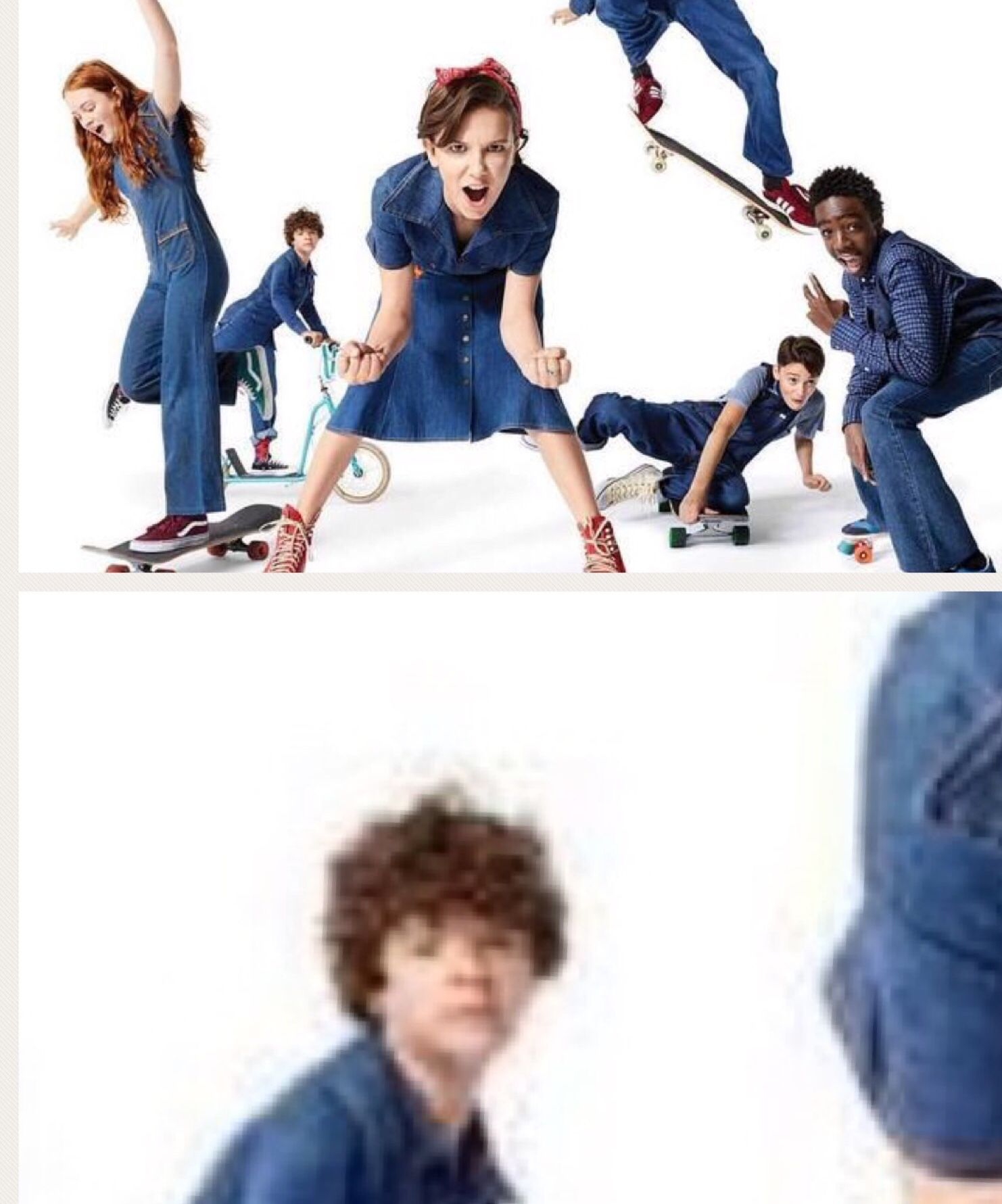 Gaten's face is like 'wut am i doin here' #strangerthings #season2 #strangerdanger