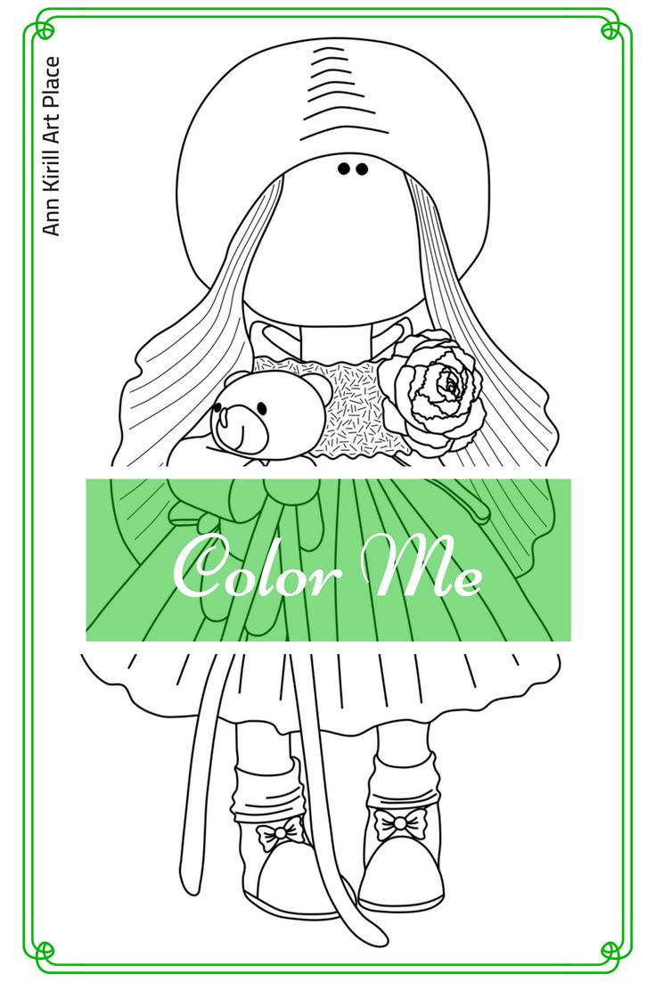 Color Me Doll Page, Big Head Doll Digital Stamp, Tilda Art Coloring ...