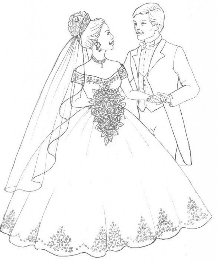 Wedding Dress Coloring Pages for Girls  Wedding coloring pages