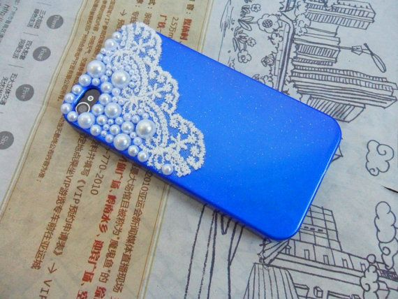 iphone Pearl Lace shell blue iphone 4 4s Hard Case Cover For Apple iPhone 4,4S ,iPhone 4 Case, iPhone 4s Case, iPhone 4 Hard Case,cover-069