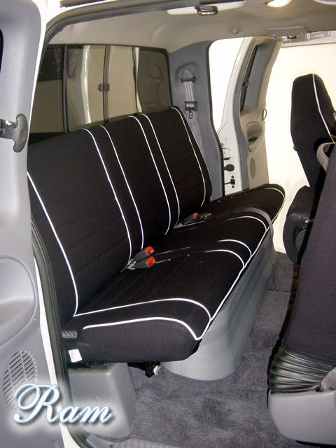 2012 Dodge Ram Sport Rear Seat Cover w Armrest Full Piping Black