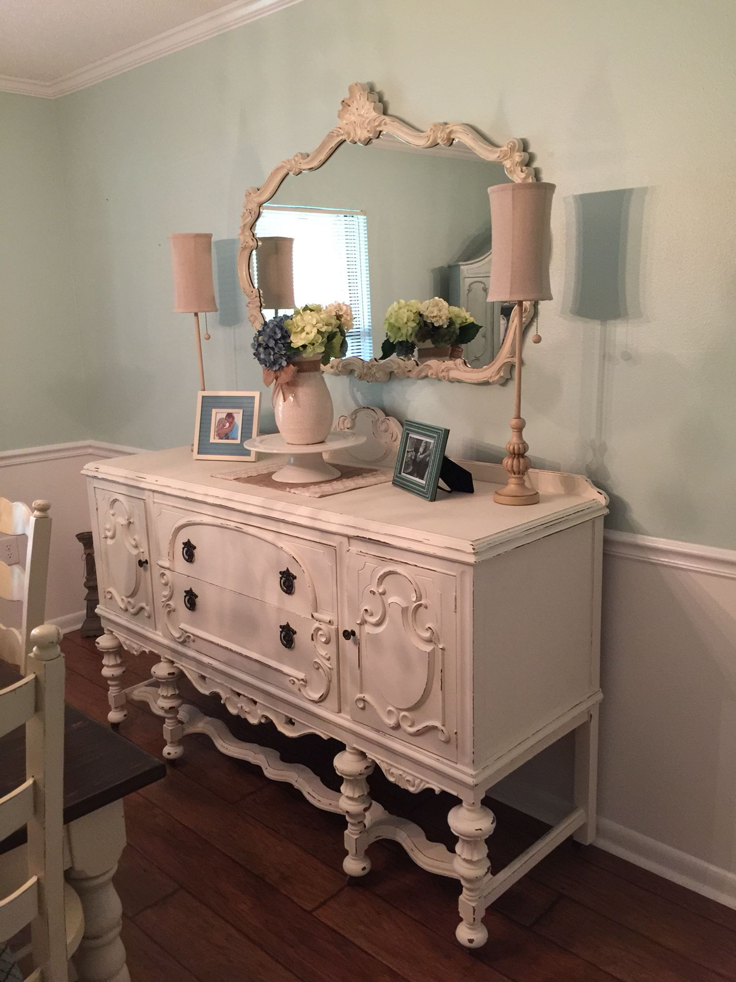 Antique Buffet Table Painted In Sherwin Williams Casa Blanca Chalk Paint