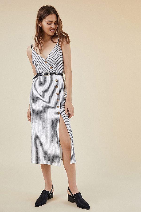 156418b7ee32 UO Amber Button-Down Linen Midi Dress | Wearables | Dresses, Urban ...
