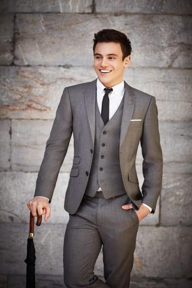 New Groom Tuxedos Suit Fit Slim Business Party Formal Best Man ...