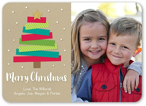 Modern Kraft Tree Christmas Card Modern