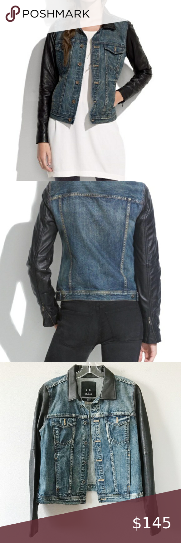 Veda x Madewell Denim Jacket Real Leather Sz M EUC RARE