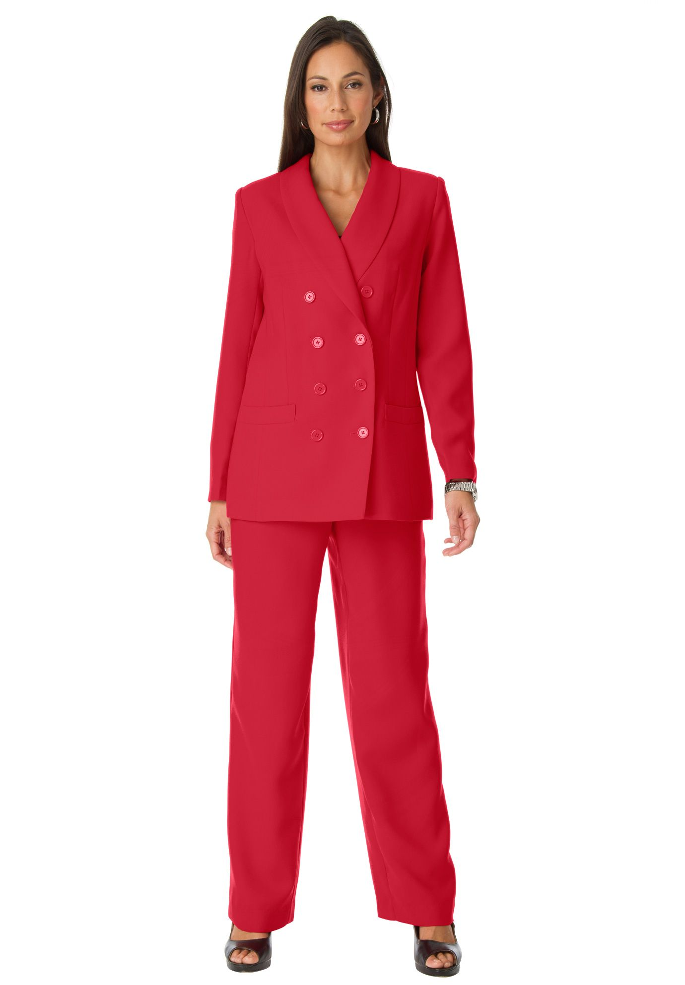 ac6c985da73 Tall Double Breasted Pantsuit | Plus Size Pantsuits | OneStopPlus ...