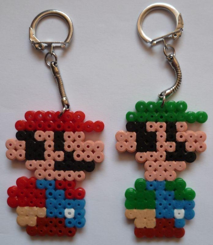 Mario et luigi porte clefs perles pinterest mario clefs et portes - Porte cle perle ...