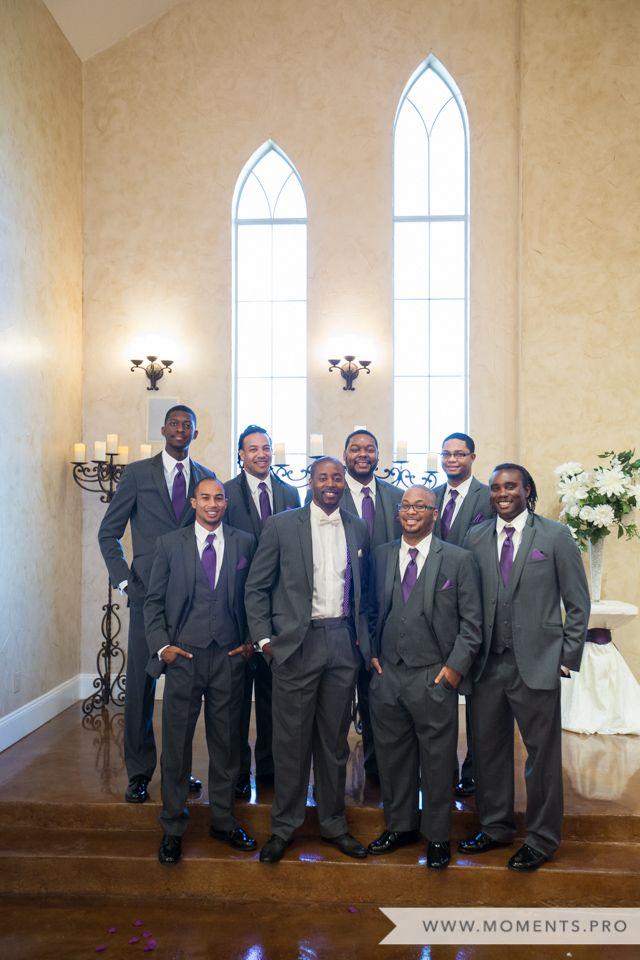 Purple Ties, Groomsmen in Gray Suits, Formal Wedding Photography, Outdoor Wedding Photography