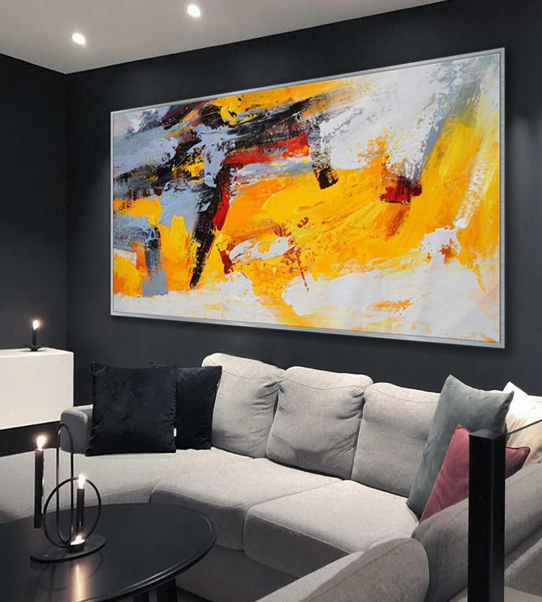 Modern Contemporary Palette Knife Art Work Long Slim Large Panoramic Horizontal Thick Texture Acrylic Abstract Framed Wall Art Painting Large Canvas Wall Art Modern Art Paintings Wall Art Painting