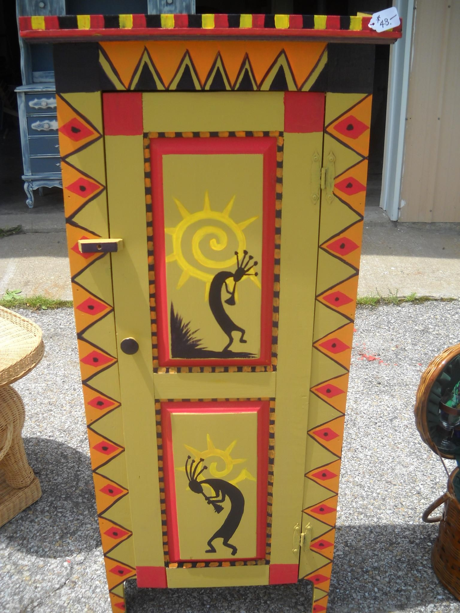 Hand Painted Kokopelli Cabinet Painted Chair Table