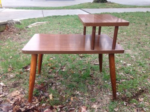 Vintage Laminate Mid Century Modern 2 Tier Side Step End Table Danish Modern