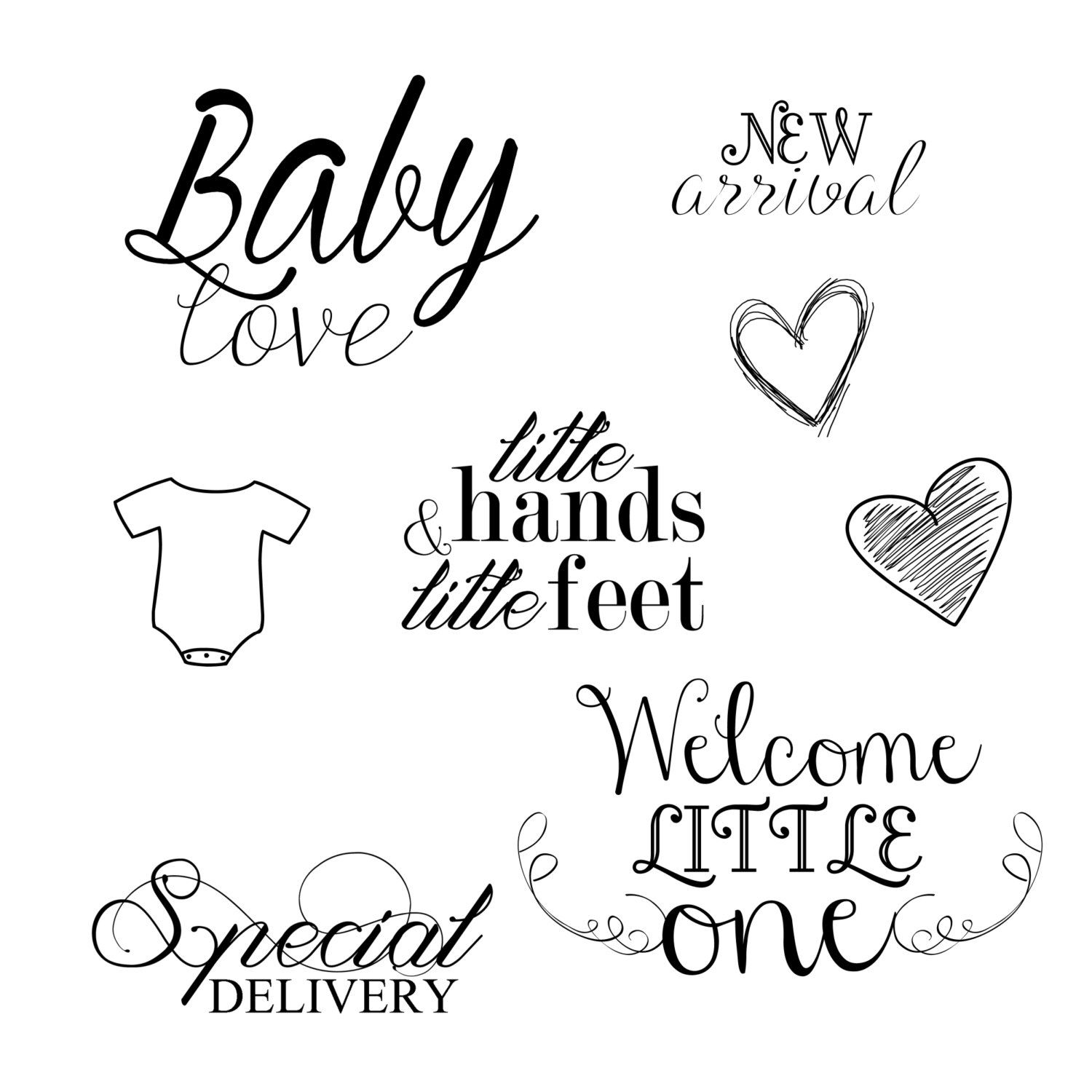 How to scrapbook words - Instant Download Newborn Baby Word Art Overlays For Photography Digital Scrapbooking Card Making Printing And Much More